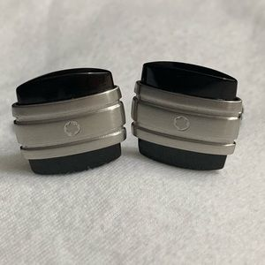 MontBlanc stainless steel and onyx cufflinks new